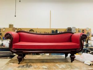 Victorian Sofa Refinished & Reupholstered in Red Leather