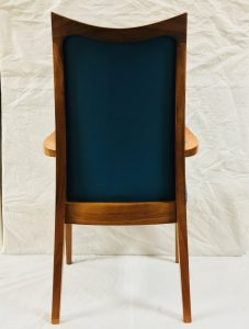 Mid Century Modern Dining Chair Refinished and Reupholstered in Blue Leather