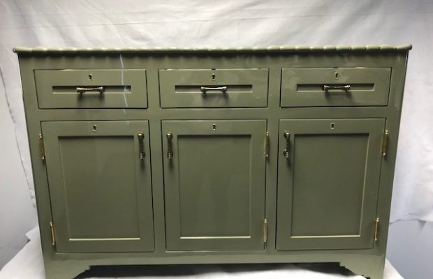 Cabinet Painted in Hi Gloss Green Lacquer