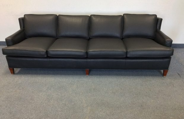 Antique Sofa Refinished and Reupholstered in Black Leather