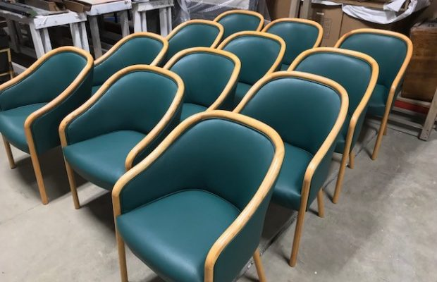 Mid Century Modern Chairs Refinished and Reupholstered in Spinneybeck Leather